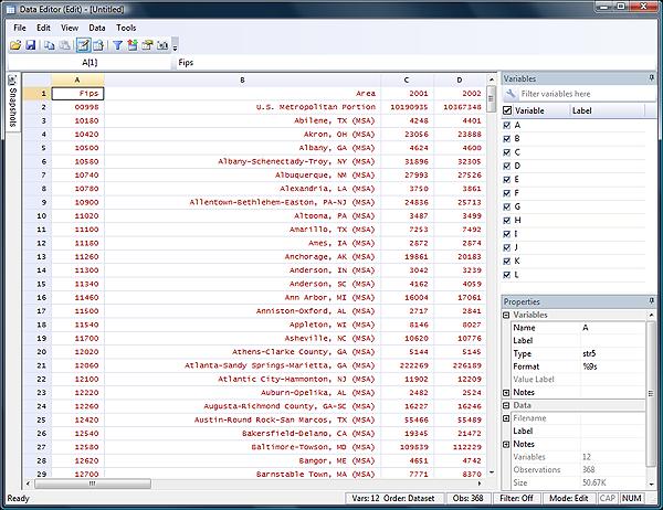 Stata Data Editor